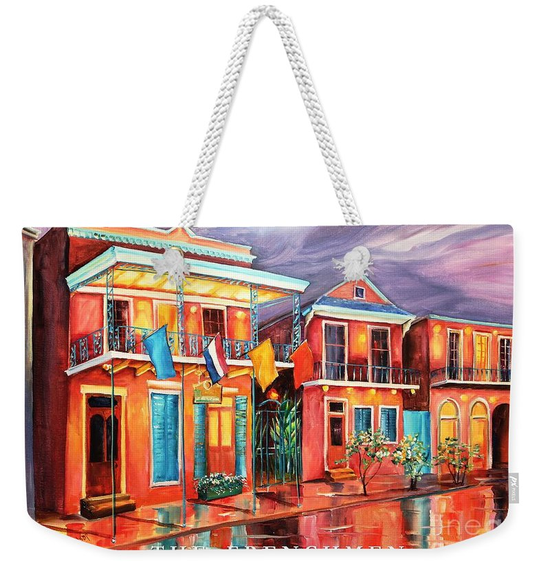 New Orleans Weekender Tote Bag featuring the painting The Frenchmen Hotel New Orleans by Diane Millsap