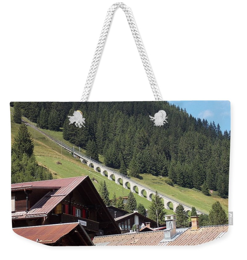 Funicular Weekender Tote Bag featuring the photograph The Funicular In Murren by Nina Kindred