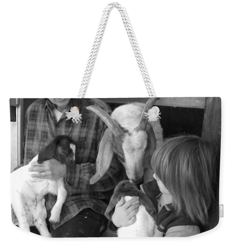 Kid Weekender Tote Bag featuring the photograph The Future Of Farming by Sheri Lauren