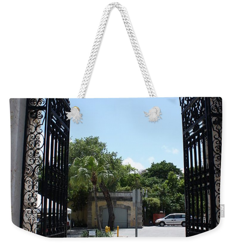 Florida Weekender Tote Bag featuring the photograph The Gate At Vizcaya Gardens by Dora Sofia Caputo Photographic Design and Fine Art