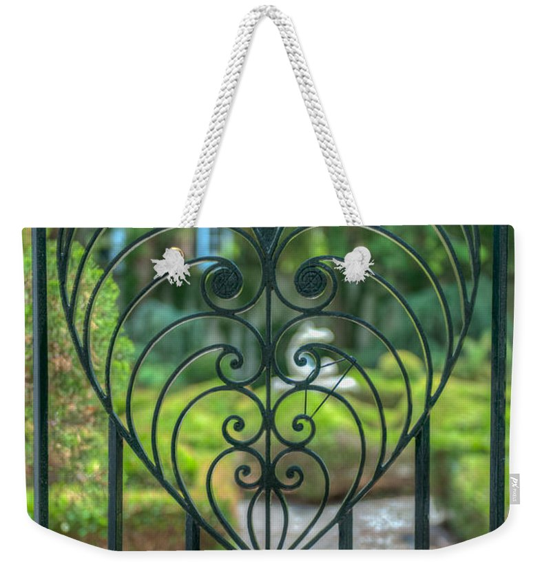 St. John's Reformed Episcopal Church Weekender Tote Bag featuring the photograph The Gate Keeper by Dale Powell