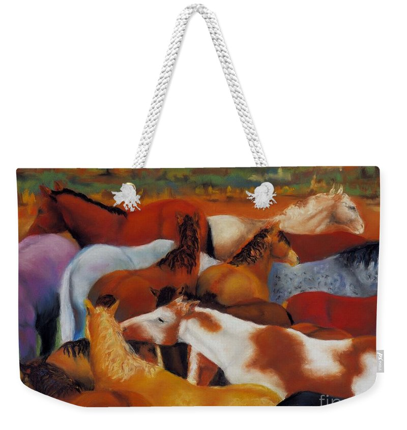 Herd Of Horses Weekender Tote Bag featuring the painting The Gathering by Frances Marino