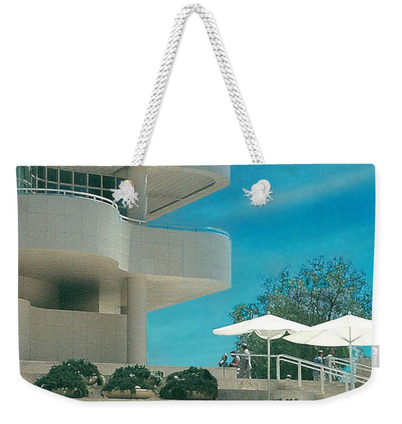 Landscape Weekender Tote Bag featuring the photograph The Getty Panel 1 by Steve Karol