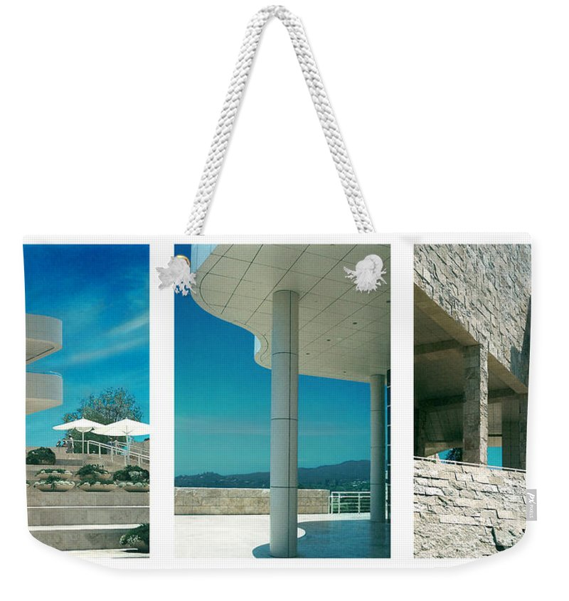 Abstract Weekender Tote Bag featuring the photograph The Getty Triptych by Steve Karol