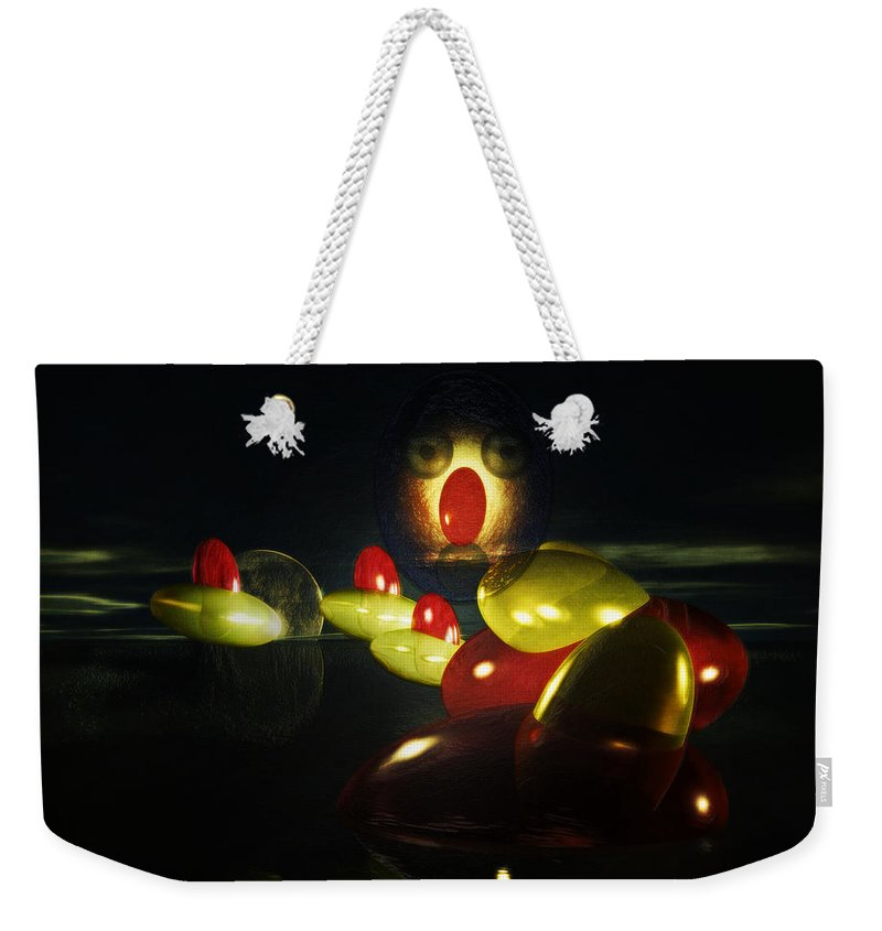 Ghost Weekender Tote Bag featuring the digital art The Ghost Of The 3 Eyes by Ramon Martinez
