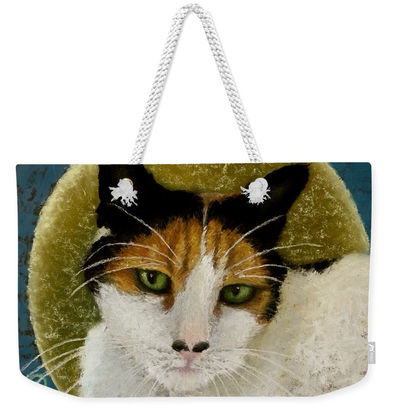 Cat Weekender Tote Bag featuring the painting The Gifted Healer by Minaz Jantz