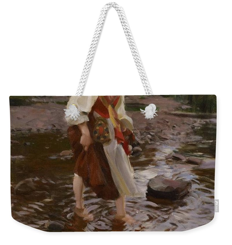 Anders Zorn Weekender Tote Bag featuring the digital art The Girl From Alvdalen by Anders Zorn