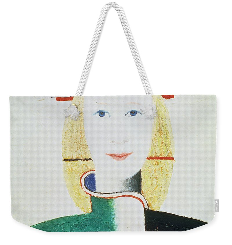 Malevich Weekender Tote Bag featuring the painting The Girl With The Hat by Kazimir Severinovich Malevich