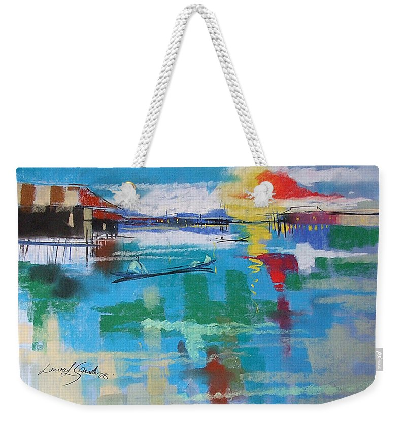 River Weekender Tote Bag featuring the painting The Glow by Said Oladejo-lawal