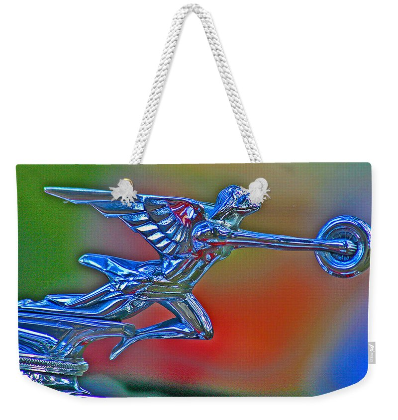 Packard Hood Ornament Weekender Tote Bag featuring the photograph The Goddess by Jean Noren