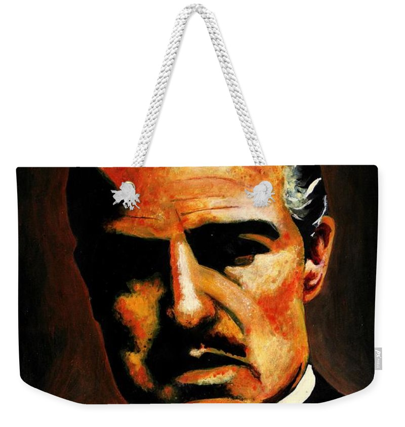 Wallpaper Buy Art Print Phone Case T-shirt Beautiful Duvet Case Pillow Tote Bags Shower Curtain Greeting Cards Mobile Phone Apple Android Nature The Godfather Painting Sketch Marlon Brando Hollywood Acrylic Portrait Expressionism Dark Gothic Movie Painting Canvas Framed Art Acrylic Greeting Print Salman Ravish Khan Mafia Crime Weekender Tote Bag featuring the painting Godfather by Salman Ravish