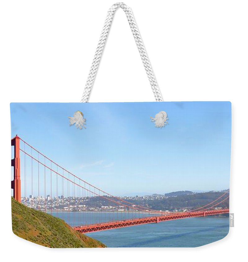 Bridge Weekender Tote Bag featuring the photograph The Golden Gate by Christina McKinney