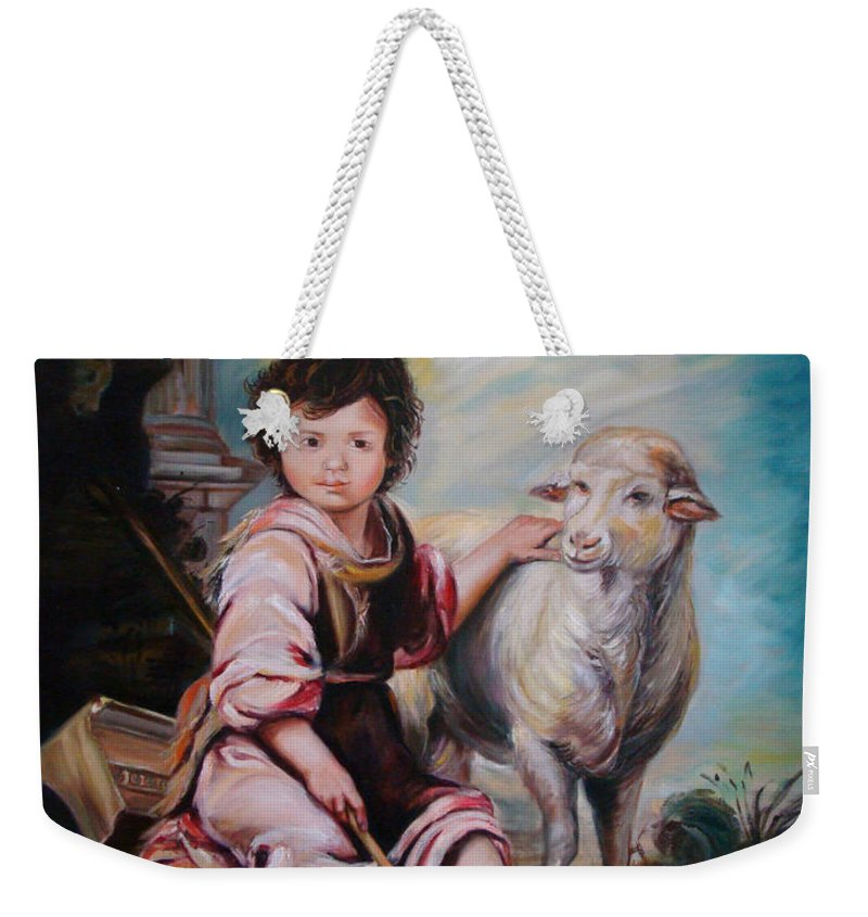Classic Art Weekender Tote Bag featuring the painting The Good Shepherd by Silvana Abel