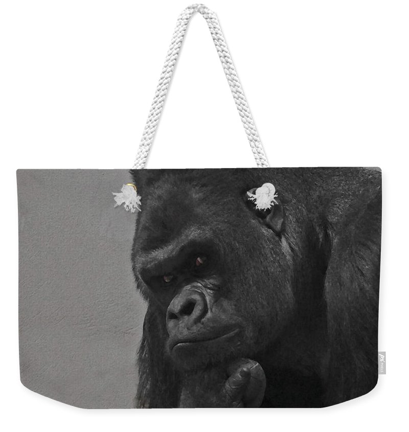 Gorilla Weekender Tote Bag featuring the digital art The Gorilla by Ernie Echols