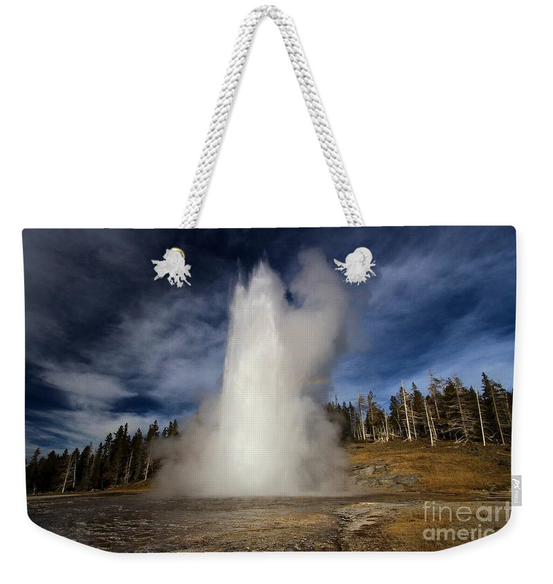 Grand Geyser Weekender Tote Bag featuring the photograph The Grand Rocket by Adam Jewell