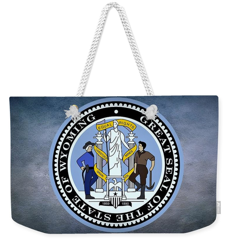 Wyoming Weekender Tote Bag featuring the photograph The Great Seal Of The State Of Wyoming by Movie Poster Prints