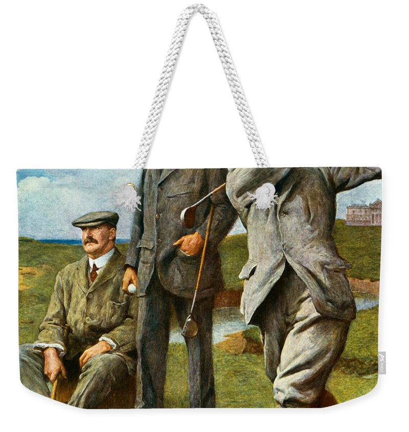 Golf Weekender Tote Bag featuring the painting The Great Triumvirate by Clement Flower
