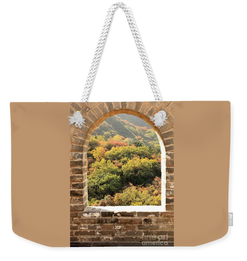 The Great Wall Of China Weekender Tote Bag featuring the photograph The Great Wall Window by Carol Groenen