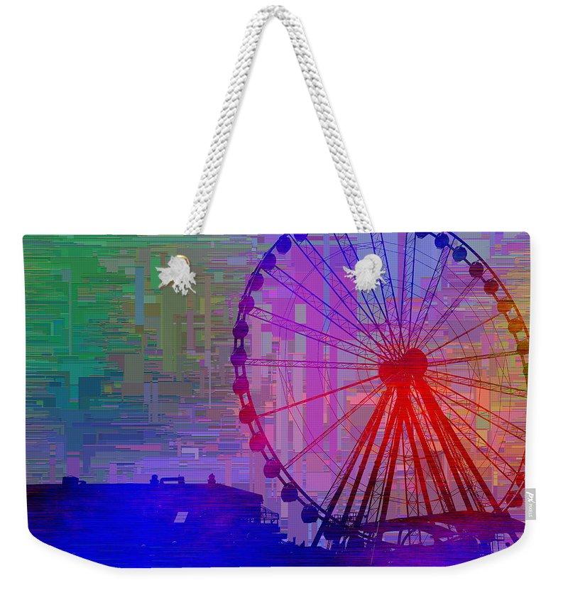 Great Wheel Weekender Tote Bag featuring the digital art The Great Wheel Cubed by Tim Allen