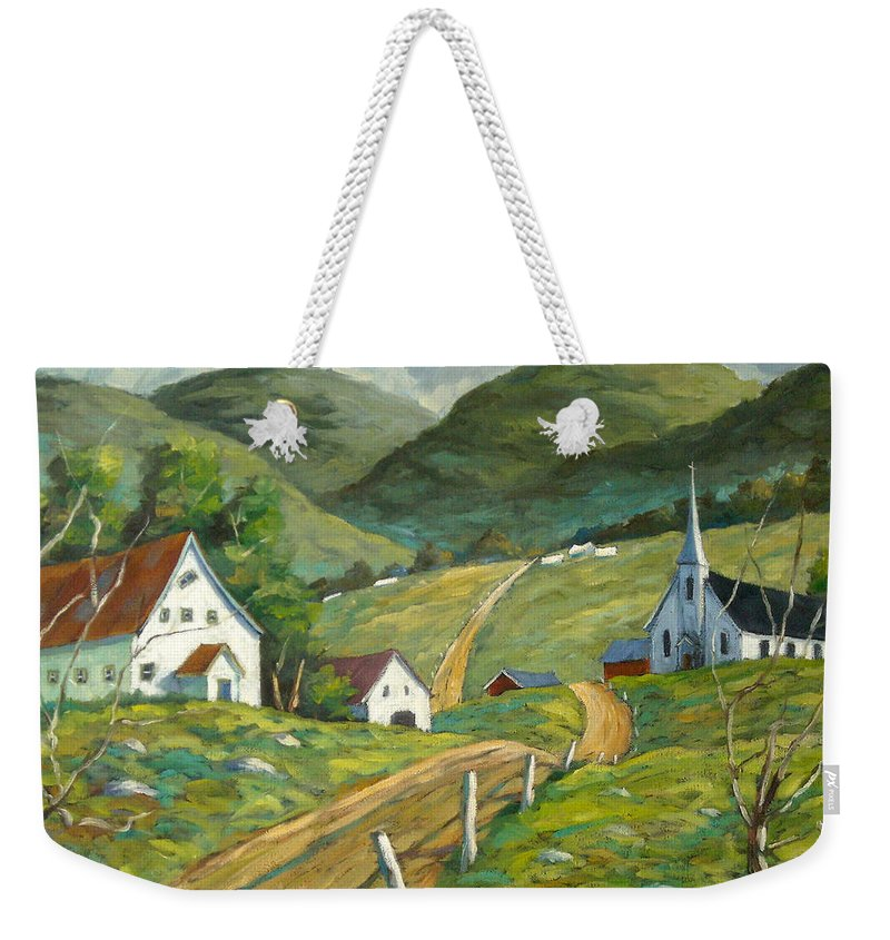 Hills Weekender Tote Bag featuring the painting The Green Hills by Richard T Pranke