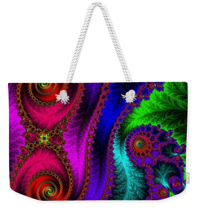 Weekender Tote Bag featuring the digital art The Green Leaf Fractal by Mary Machare
