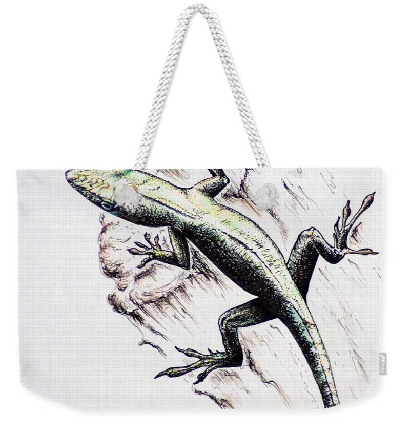 Ink Sketch Weekender Tote Bag featuring the drawing The Green Lizard by Katharina Filus