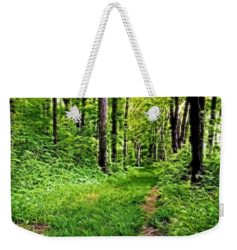The Green Path Weekender Tote Bag featuring the digital art The Green Path by Dan Sproul