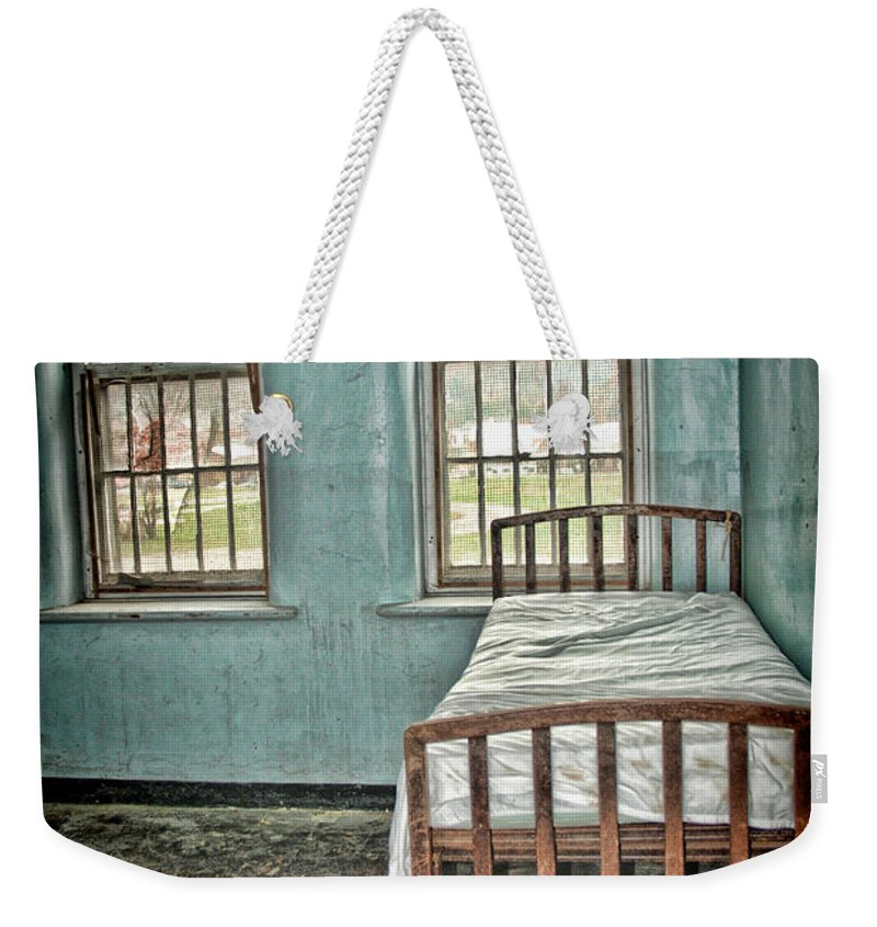 Trans Allegheny Lunatic Asylum Weekender Tote Bag featuring the digital art The Green Room by Anita Hubbard