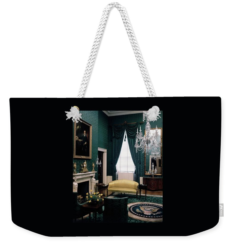 White House Weekender Tote Bag featuring the photograph The Green Room In The White House by Haanel Cassidy
