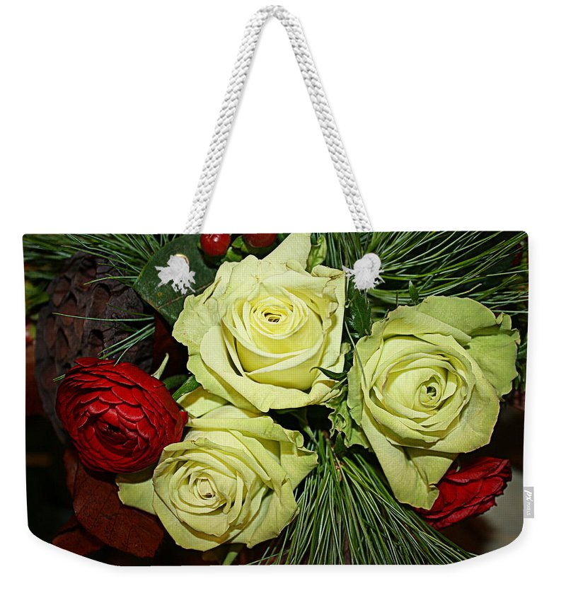 Christmas Weekender Tote Bag featuring the photograph The Green Roses Of Winter by Dora Sofia Caputo Photographic Design and Fine Art