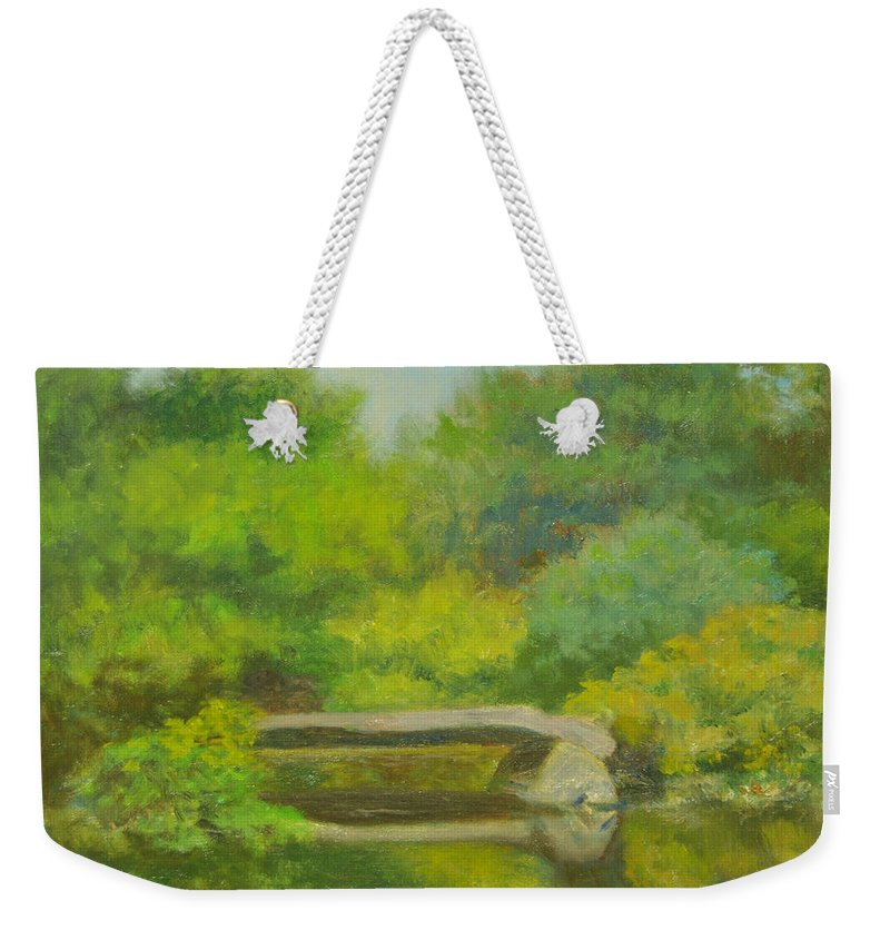 Landscape Weekender Tote Bag featuring the painting The Greens Of Summer by Phyllis Tarlow