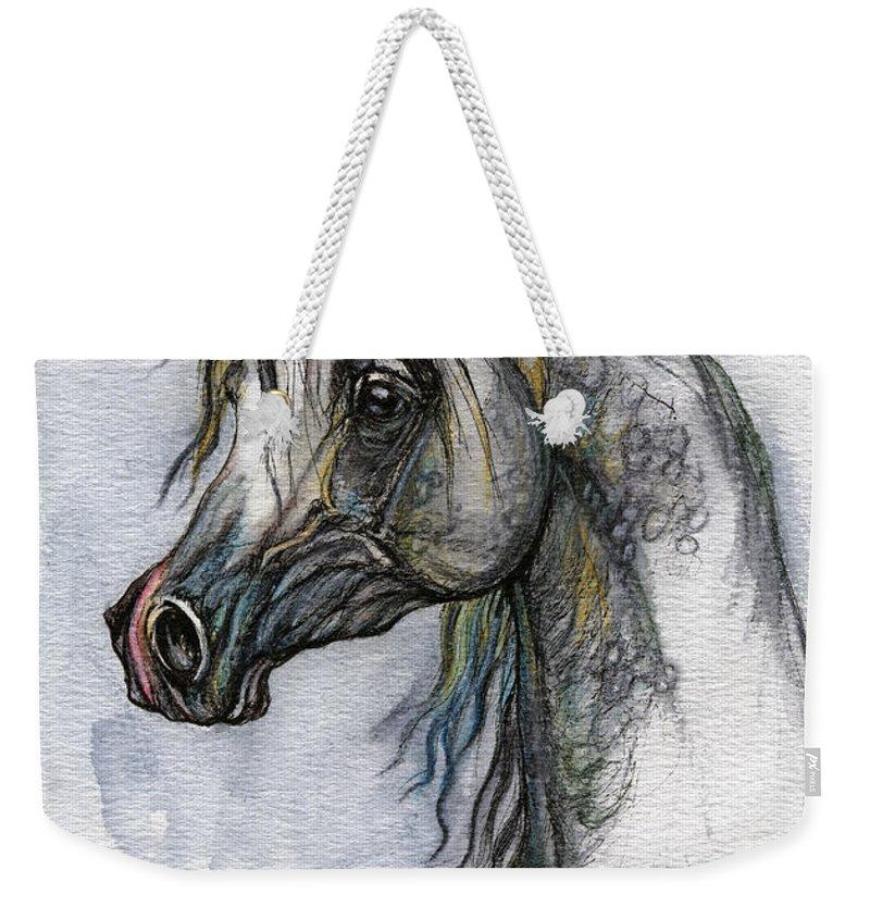 Watercolor Weekender Tote Bag featuring the painting The Grey Arabian Horse 10 by Angel Ciesniarska