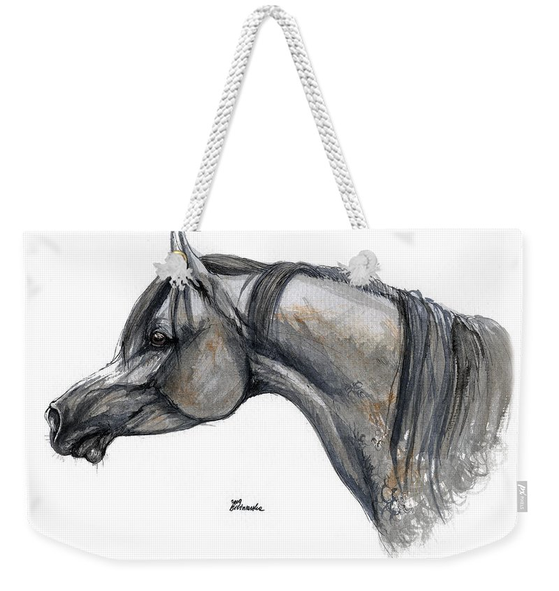 Horse Weekender Tote Bag featuring the painting The Grey Arabian Horse 11 by Angel Tarantella