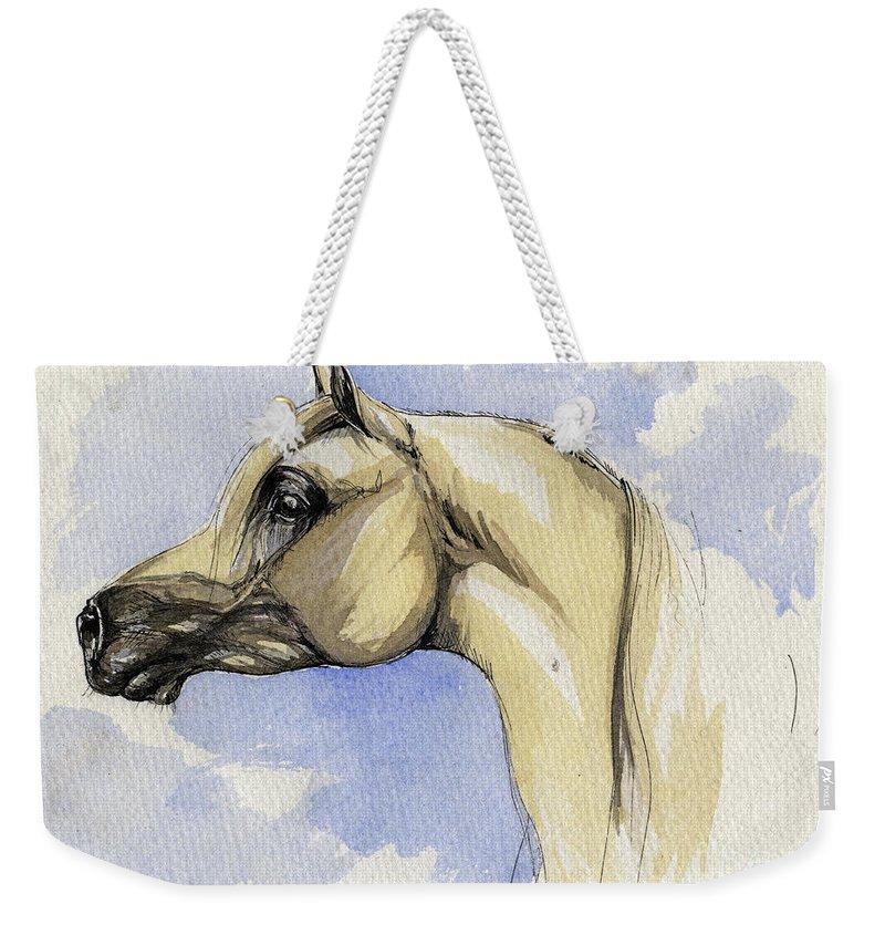 Arabian Weekender Tote Bag featuring the painting The Grey Arabian Horse 12 by Angel Ciesniarska