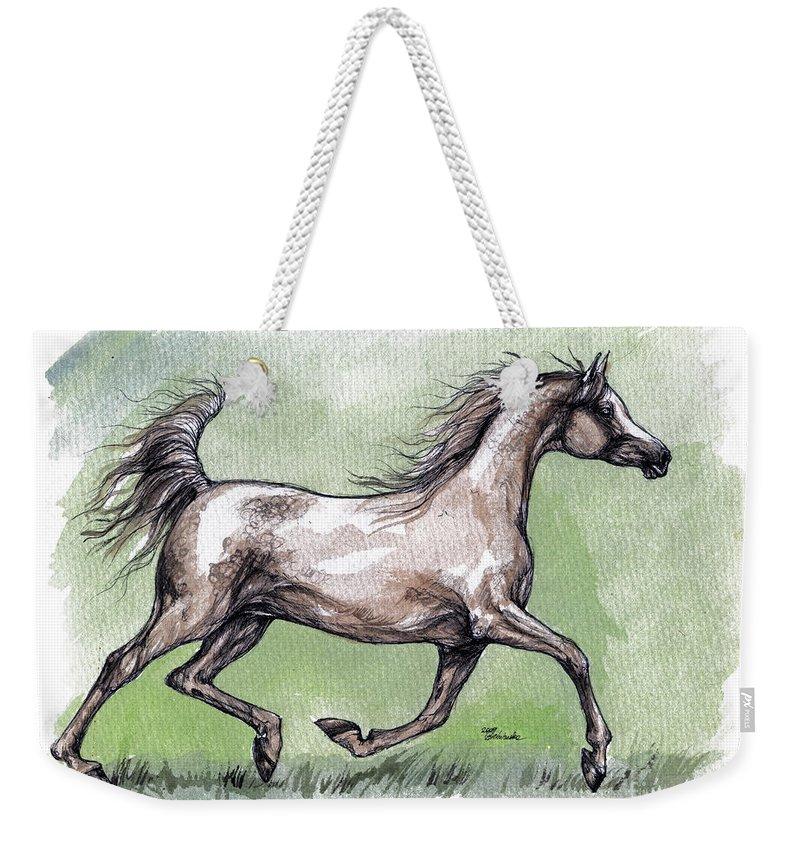 Horse Weekender Tote Bag featuring the painting The Grey Arabian Horse 8 by Angel Ciesniarska