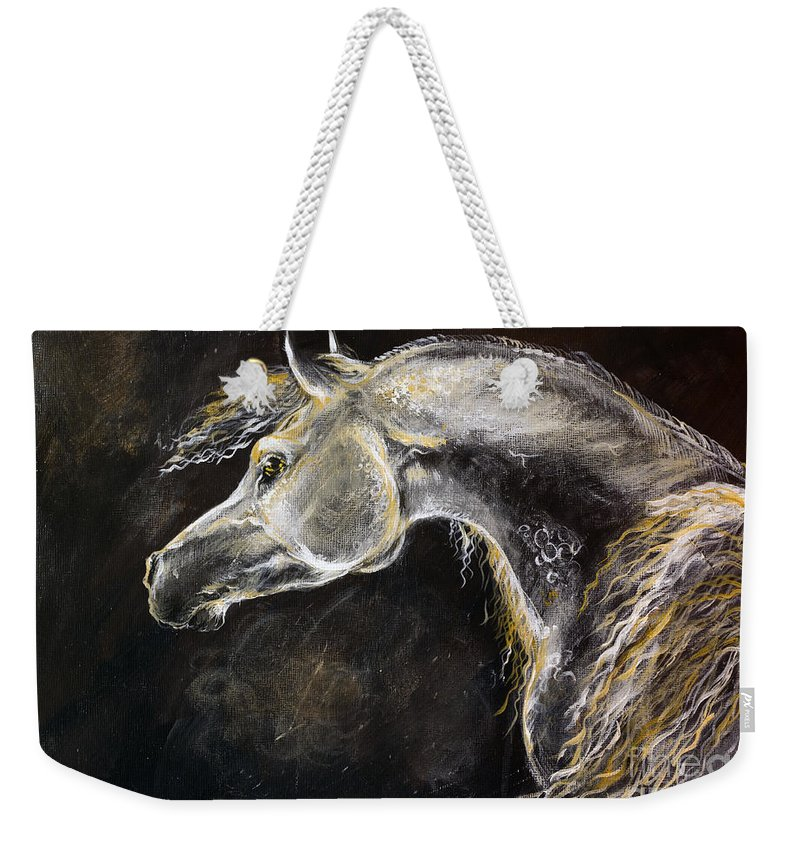 Horse Weekender Tote Bag featuring the painting The Grey Arabian Horse 9 by Angel Tarantella