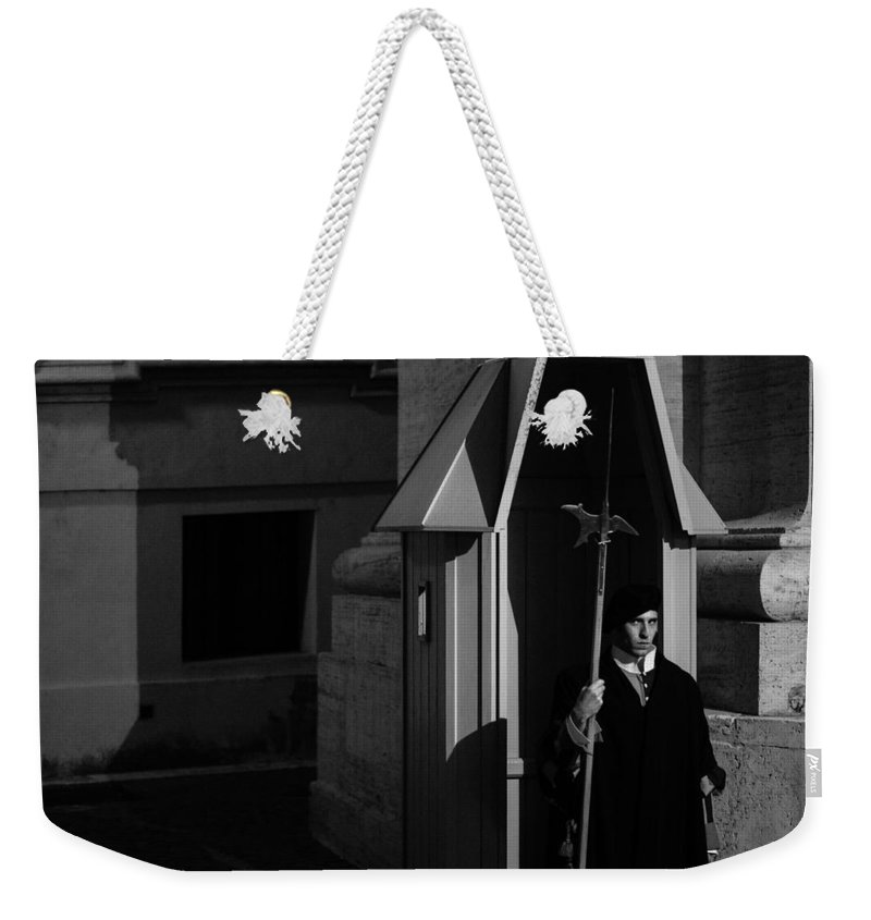 Italy Weekender Tote Bag featuring the photograph The Guard by David Rucker