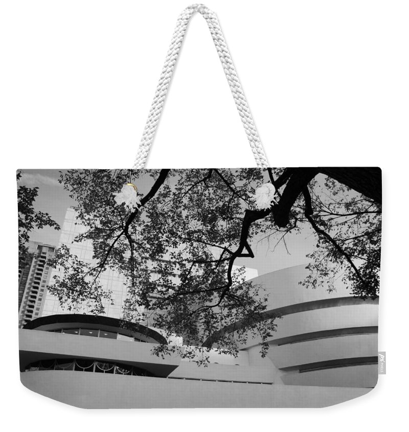 Scenic Weekender Tote Bag featuring the photograph The Gugenheim In Black And White by Rob Hans