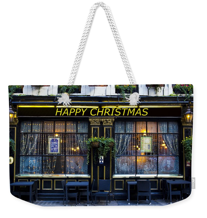 Pub Weekender Tote Bag featuring the photograph The Happy Christmas Pub by David Pyatt