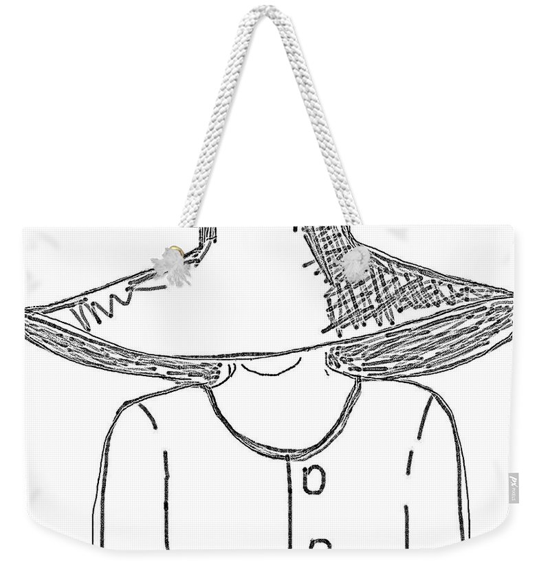 Weekender Tote Bag featuring the digital art The Hat Lady - Digital Sketch by Angela L Walker