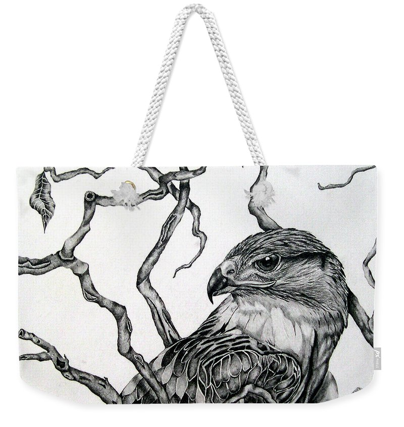 Hawk Weekender Tote Bag featuring the drawing The Hawk by Alison Caltrider