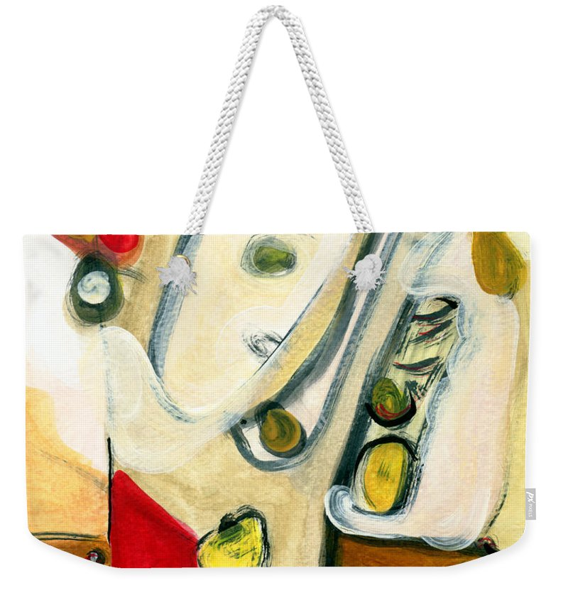 Abstract Art Weekender Tote Bag featuring the painting The Horn Player by Stephen Lucas