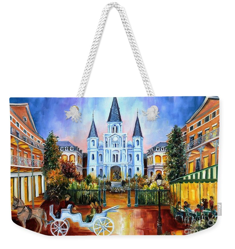 New Orleans Weekender Tote Bag featuring the painting The Hours On Jackson Square by Diane Millsap