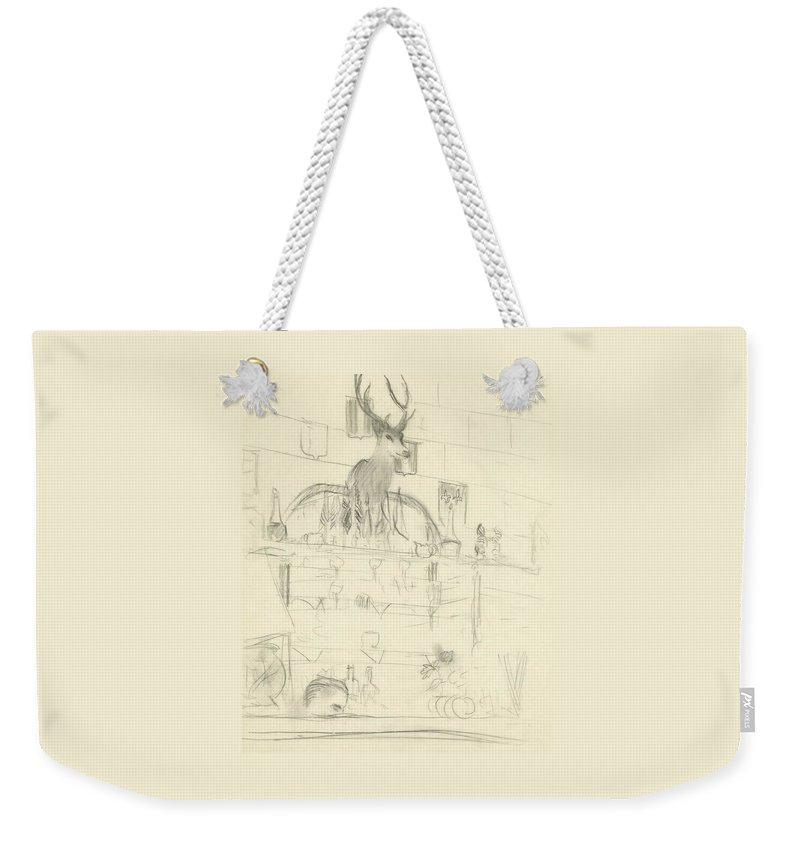 Illustration Weekender Tote Bag featuring the digital art The Interior Of A Bar by Carl Oscar August Erickson