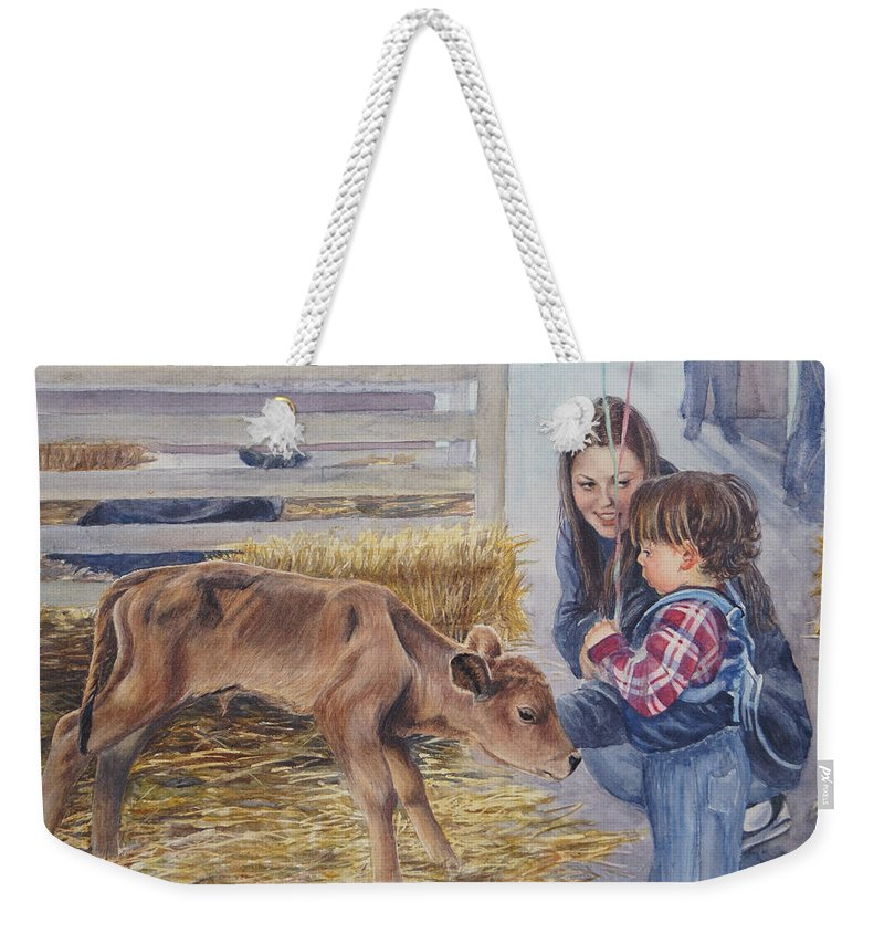 Calf Weekender Tote Bag featuring the painting The Introduction by Nancy Delgado