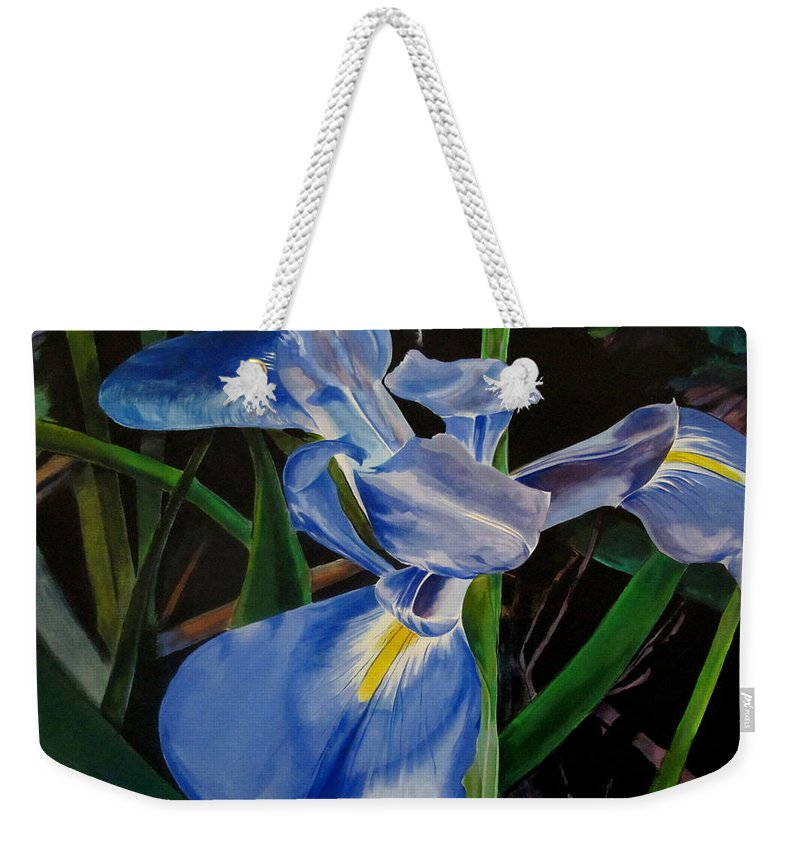 Iris Weekender Tote Bag featuring the painting The Iris by John Duplantis
