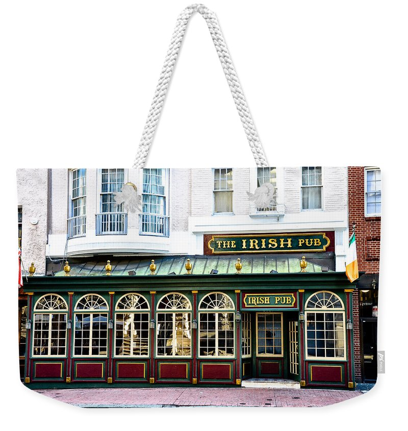 Irish Weekender Tote Bag featuring the photograph The Irish Pub - Philadelphia by Bill Cannon
