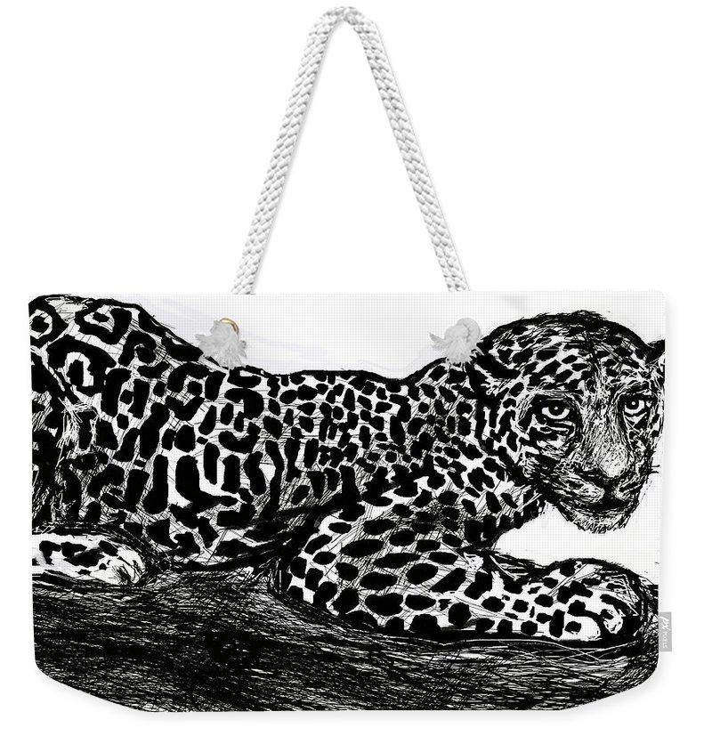 Jaguar Weekender Tote Bag featuring the digital art The Jaguar by Paul Sutcliffe