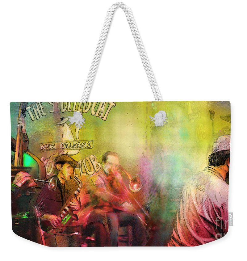 Music Weekender Tote Bag featuring the painting The Jazz Vipers In New Orleans 03 by Miki De Goodaboom