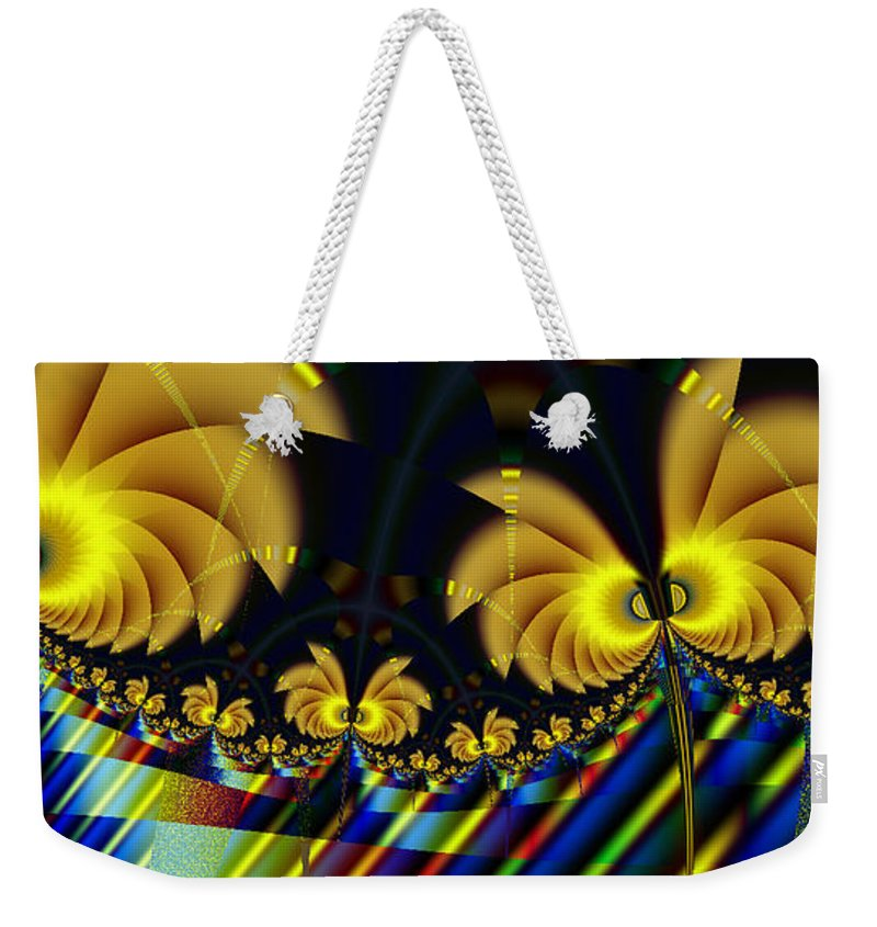 Fractal Art Weekender Tote Bag featuring the digital art The Jester's Golden Pop-poppies by Elizabeth McTaggart